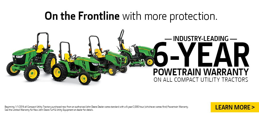 6-Year Powertrain Warranty on John Deere Compact Utility Tractors